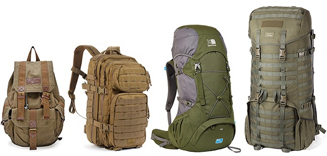 A collection of different rucksacks